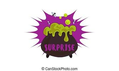 Halloween surprise logo animation best object on white background