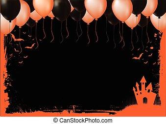 halloween, svart, gräns, bakgrund, element