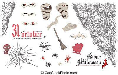 Halloween symbol elemens set. Skull, mummy, spider, broom, bat, spider, web, bandage, eyes. Vintage style