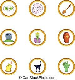 Halloween symbol icon set, cartoon style