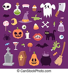 Halloween symbols vector collection.