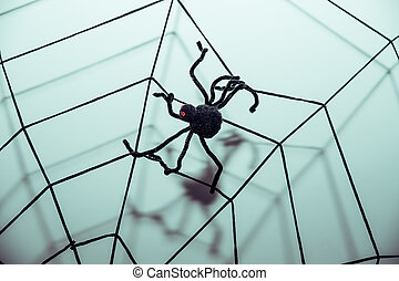 Halloween Symbols Web and Black Spiders. Toned image. pretty scary frightening spider web for halloween party. Halloween decoration with big spider sitting on web. Festive greeting card, poster, banner design. Spider web