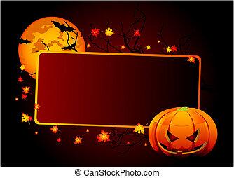 halloween, tarjeta de lugar
