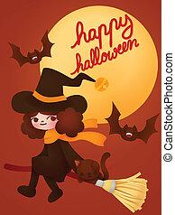 halloween, tarjeta, feliz