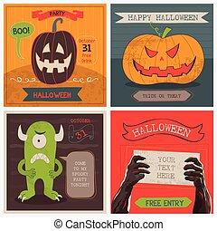 halloween, tarjetas, set., vector, ilustración