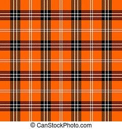 Halloween Tartan plaid. Scottish pattern in black, orange and white cage. Scottish cage. Traditional Scottish checkered background. Seamless fabric texture. Vector illustration