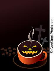 halloween, tasse, café, conception