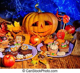 halloween, tavola, con, trucco festa