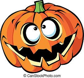 halloween, tecknad film, skrämmande, pumpa