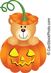 Scalable vectorial image representing a Halloween teddy bear in pumpkin, isolated on white.
