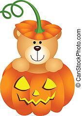 Halloween Teddy Bear in Pumpkin - Scalable vectorial image...