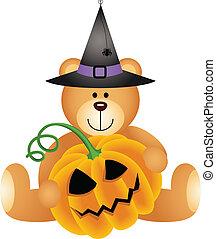 Halloween Teddy Bear with Pumpkin