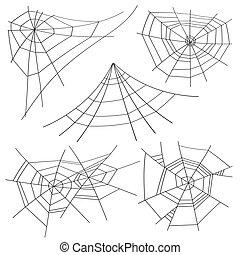 halloween, tela de araña, conjunto, vector., isolated., para, halloween, diseño