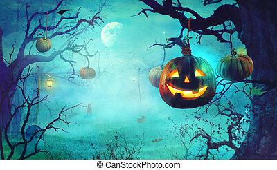 halloween, tema, scuro, forest., zucche, sinistro