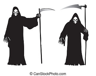 halloween, temat, żniwiarz, -, srogi
