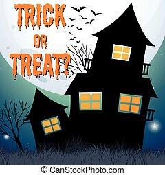 halloween, temat, uczęszczany dom