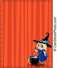 Halloween template with cute baby witch girl in blue costume framed with spiderweb on striped orange background.