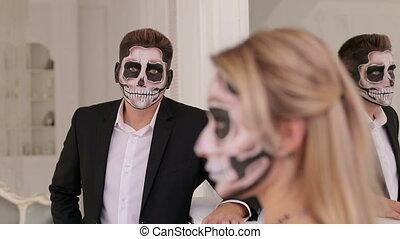 halloween, terrible, suit., fond, maquillage, girl, homme