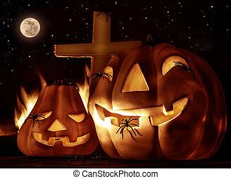 halloween, terrifiant, nuit