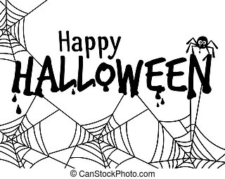 Halloween text banner with spider vector illustration
