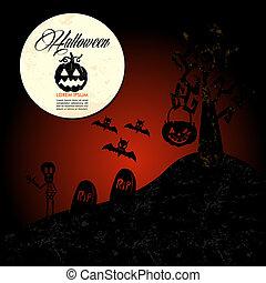Halloween text: full moon pumpkin spooky cemetery EPS10 file.