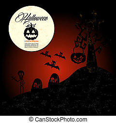Halloween text: full moon pumpkin spooky cemetery EPS10 file.