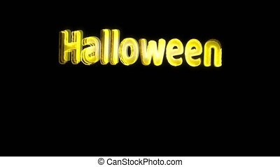 Halloween text light effect rainbow colorful screaming horror on black screen