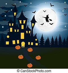 Halloween, the witch s house on the full moon. Bats