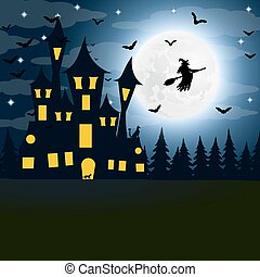 Halloween, the witch s house on the full moon.