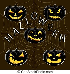 Halloween. The yellow pumpkins
