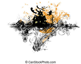 Grunge Halloween: abstract grunge and rusty, floral illustration