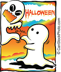 Halloween theme little ghost tickle another ghost eh..ehh.....