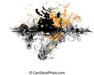 Halloween theme - Grunge Halloween: abstract grunge and...
