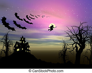 Halloween theme: Witch and bats are flying