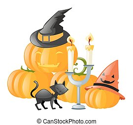 Halloween theme with black cat and pumpkin