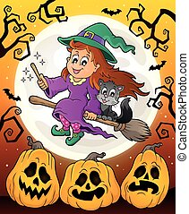 Halloween theme with cute witch and cat