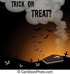 Halloween theme with graveyard