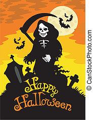 Halloween theme with grim reaper - vector illustration.