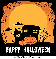 Halloween theme with haunted house