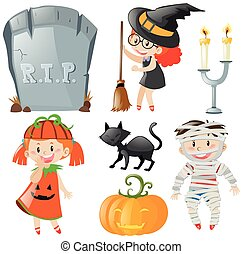 Halloween theme with kids in costumes