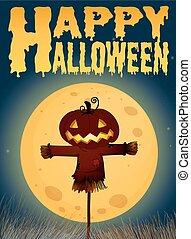 Halloween theme with scarecrow on fullmoon