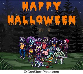 Halloween theme with zombies in the park