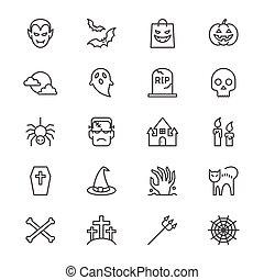 Halloween thin icons