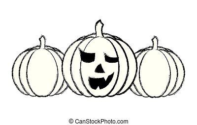 halloween three pumpkin scary decoration