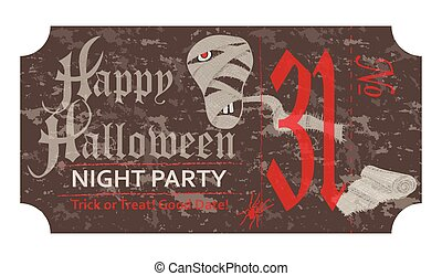 Halloween ticket for party, 31 october, vintage style Vector illustration