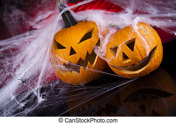 halloween, toile araignée, citrouille