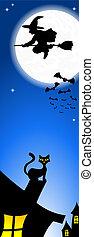halloween, toit, chat