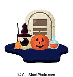 halloween tomb and set icons