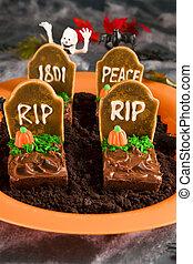 Halloween tombstone brownies