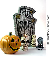 Halloween Tombstone & Pumpkin Decorations
